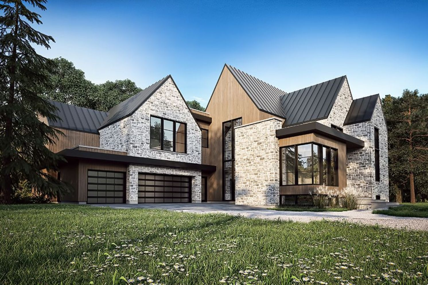 Modern house with new farmhouse exterior design pulling out country charm and warm welcoming display Image 26