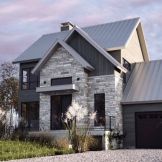 Modern house with new farmhouse exterior design pulling out country charm and warm welcoming display Image 30