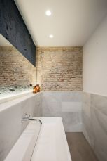 Modern rustic bathroom styles showing amazing viewpoint of brick wall decoration Image 22