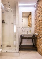 Modern rustic bathroom styles showing amazing viewpoint of brick wall decoration Image 23