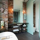 Modern rustic bathroom styles showing amazing viewpoint of brick wall decoration Image 25