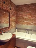 Modern rustic bathroom styles showing amazing viewpoint of brick wall decoration Image 33
