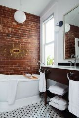 Modern rustic bathroom styles showing amazing viewpoint of brick wall decoration Image 37