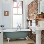 Modern rustic bathroom styles showing amazing viewpoint of brick wall decoration Image 38