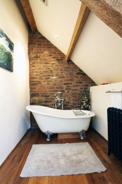 Modern rustic bathroom styles showing amazing viewpoint of brick wall decoration Image 42
