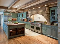 Rustic cabin kitchen designs showing warm wooden structure in earthy natural palettes Image 16