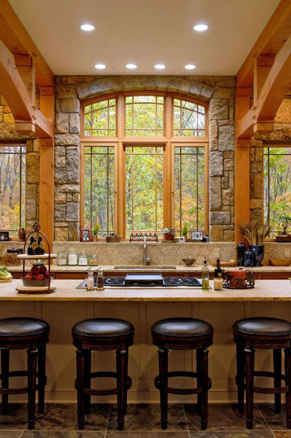 Rustic cabin kitchen designs showing warm wooden structure in earthy natural palettes Image 6