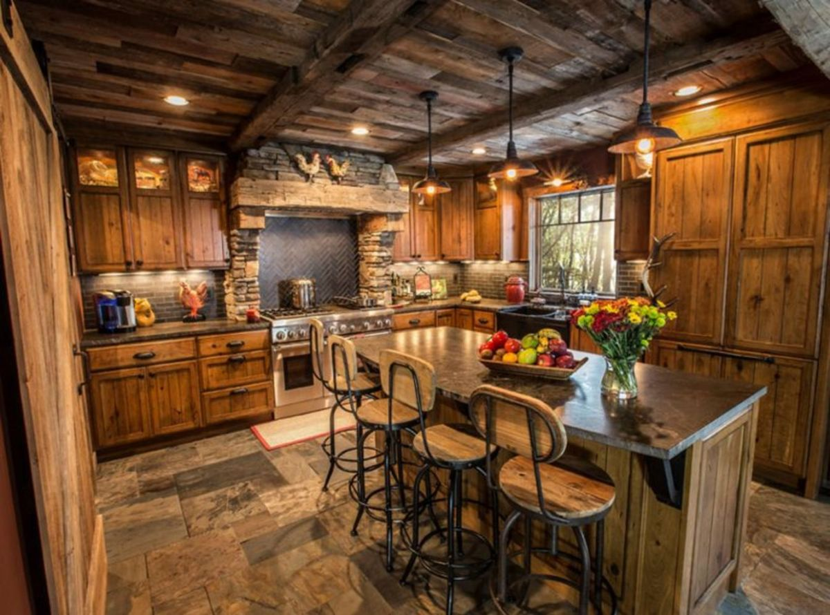 40+ Kitchen Ideas Giving the Warm Cabin Designs in Amazing Rustic Concept