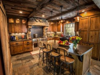 Rustic cabin kitchen designs showing warm wooden structure in earthy natural palettes Image 8