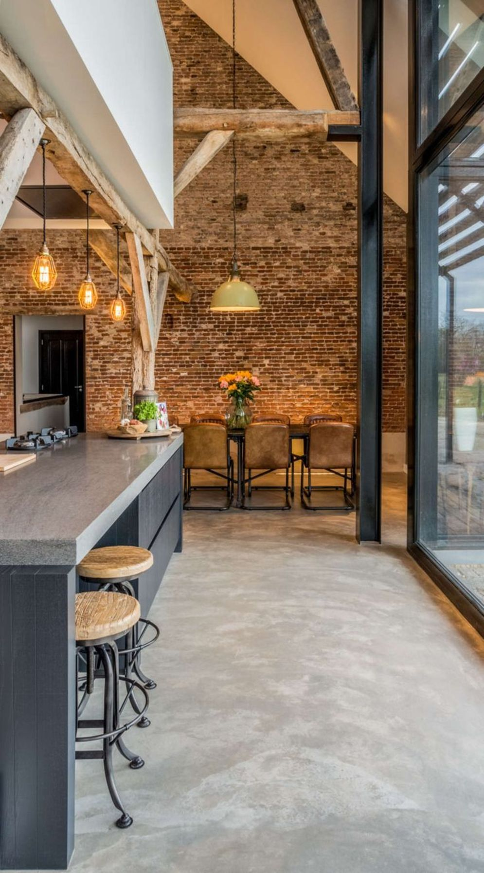 Wonderful interior statement brick wall improving interior display with modern rustic combination Image 28