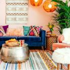 Artful interior style showcasing eclectic Bohemian display with ethnic rugs as decoration Image 14