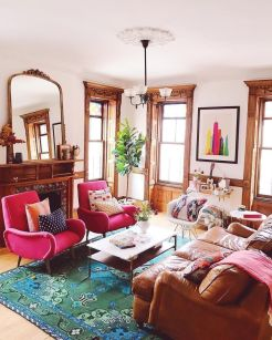 Artful interior style showcasing eclectic Bohemian display with ethnic rugs as decoration Image 15