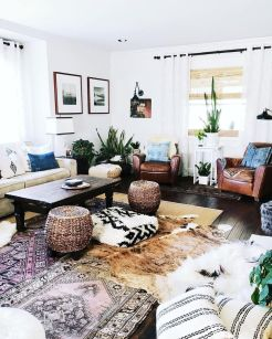 Artful interior style showcasing eclectic Bohemian display with ethnic rugs as decoration Image 16