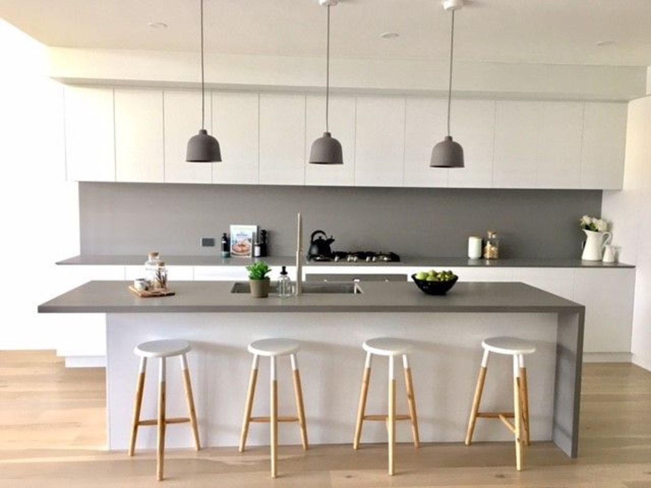 Classy kitchen styles in bold display maximizing concrete benchtop designs Image 13