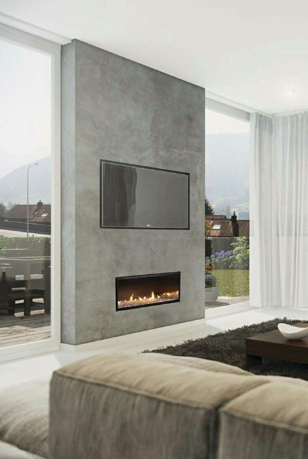 Efficient living room decoration giving exotic combination of gas burning fireplace and TV wall Image 16