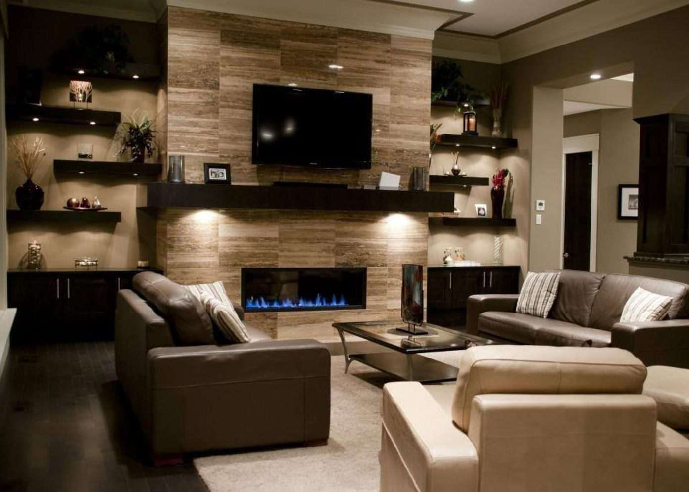 Efficient living room decoration giving exotic combination of gas burning fireplace and TV wall Image 20