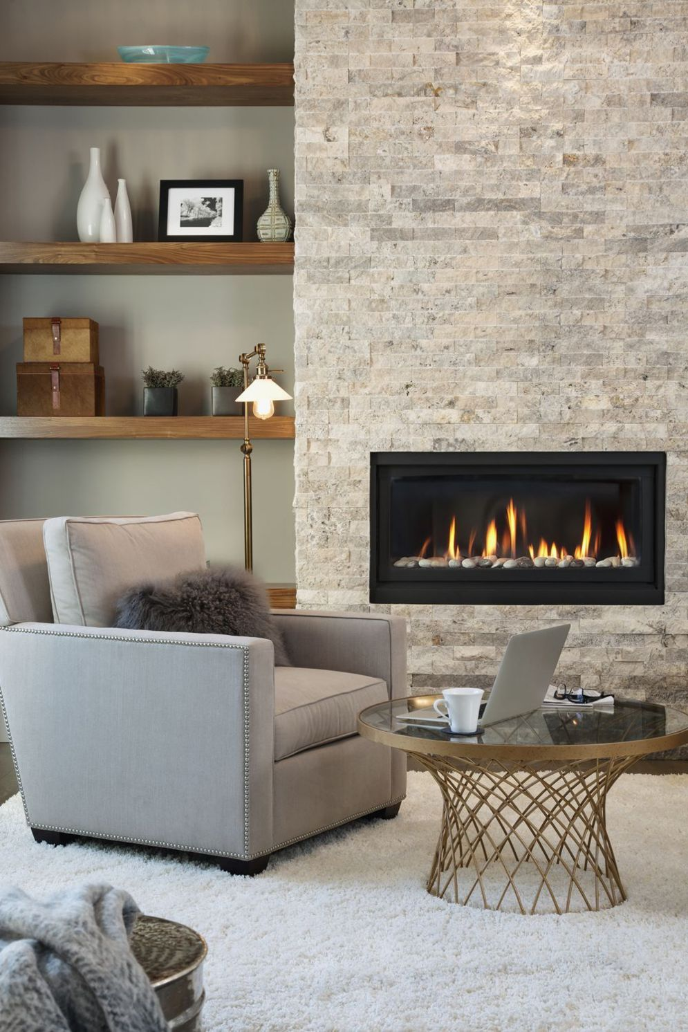 Efficient living room decoration giving exotic combination of gas burning fireplace and TV wall Image 23