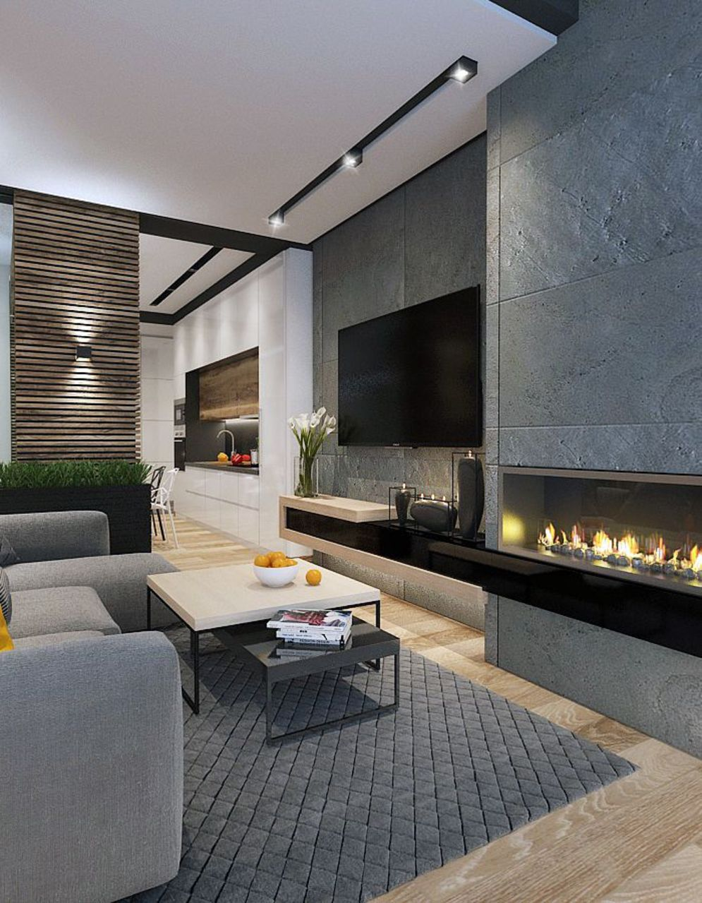 Efficient living room decoration giving exotic combination of gas burning fireplace and TV wall Image 26