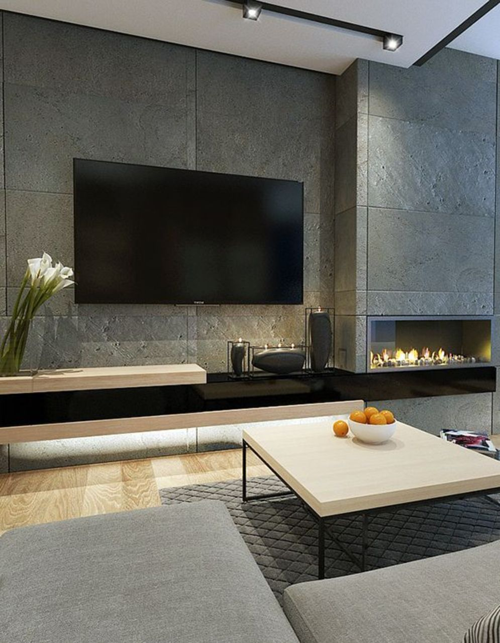 Efficient living room decoration giving exotic combination of gas burning fireplace and TV wall Image 30