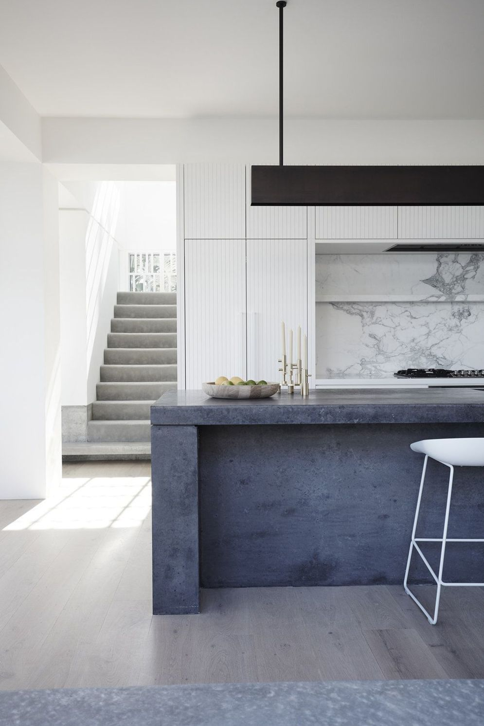 Modern kitchen updates using efficient concrete benchtops to show sturdier interior display Image 42