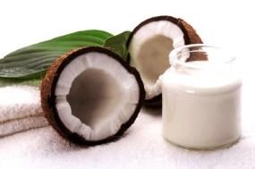 coco bath items. coconut, milk, towel. white spa