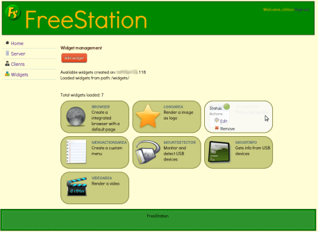 FreeStation Server GUI - List of total widgets