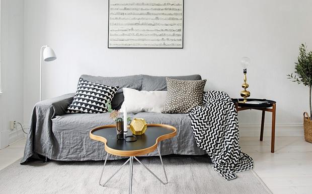 une deco scandinave en gris et blanc