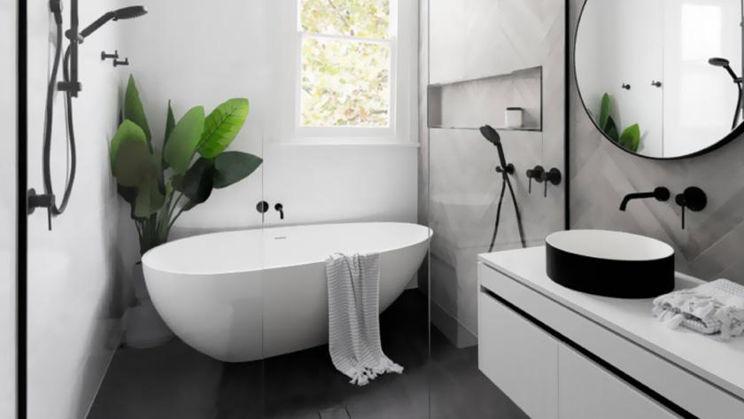 salle de bain moderne blanche