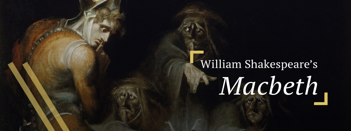 Macbeth looking away from the three witches, from Fuseli, Henry. Macbeth consulting the vision of the armed head (1793)