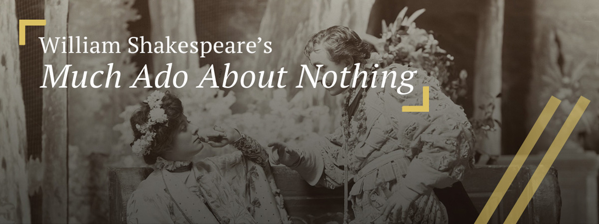 Beatrice (seated) and Benedict (standing) from Hall's Studio, Much ado about nothing [starring E.H. Sothern and Julia Marlowe] (1904)