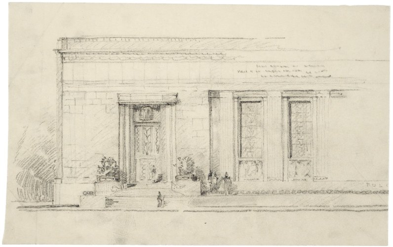 Architect Paul Cret's sketch on a tissue of the near-final Folger Shakespeare Library.