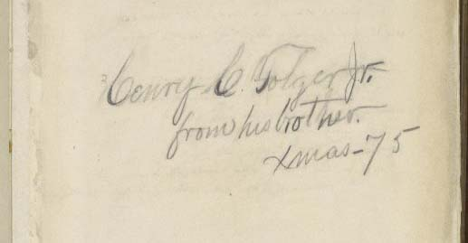 Inscription in Henry Folger's Christmas gift from his brother
