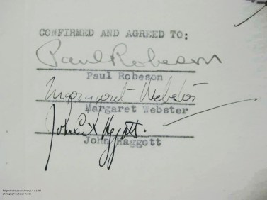 Robeson, Webster, and Haggott's signatures on the contract for the production.
