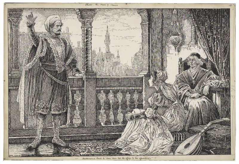 Othello, the Moor of Venice. Desdemona loved to hear him tell the story of his adventures [graphic] / Louis Rhead. Folger Shakespeare Library.