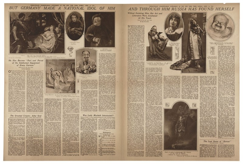 New York Times, 1916 300th anniversary special editions, April 16, 1916. Folger Shakespeare Library.