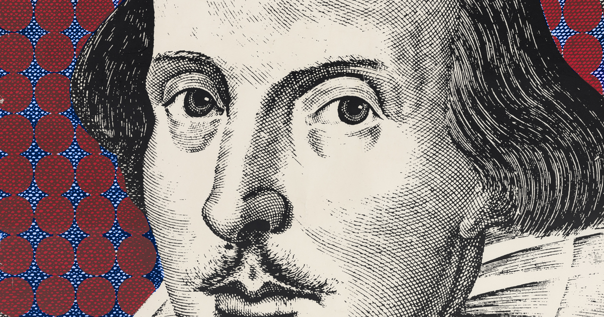 Droeshout portrait of Shakespeare superimposed on field of red dots.