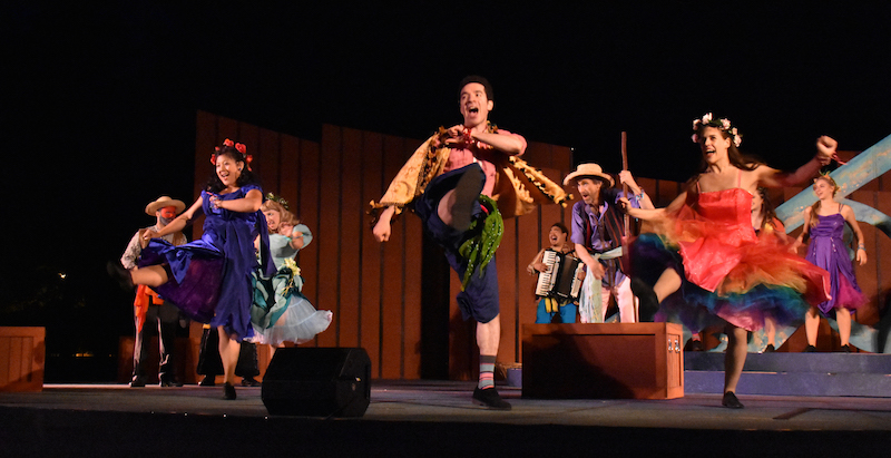 (L to R) Damien Seperi as Camillo, Anne Yumi Kobori as Mopsa, Maryssa Wanlass* as Dorcas, Davern Wright as Florizel, Phil Wong as the Clown, Phil Lowery as the Old Shepherd, Rosie Hallett as Perditia, Rachel Brunner as a Shepherdess in San Francisco Shakespeare Festival's Free Shakespeare in the Park production of The Winter's Tale. (*member Actors' Equity union) Photo: Jay Yamada