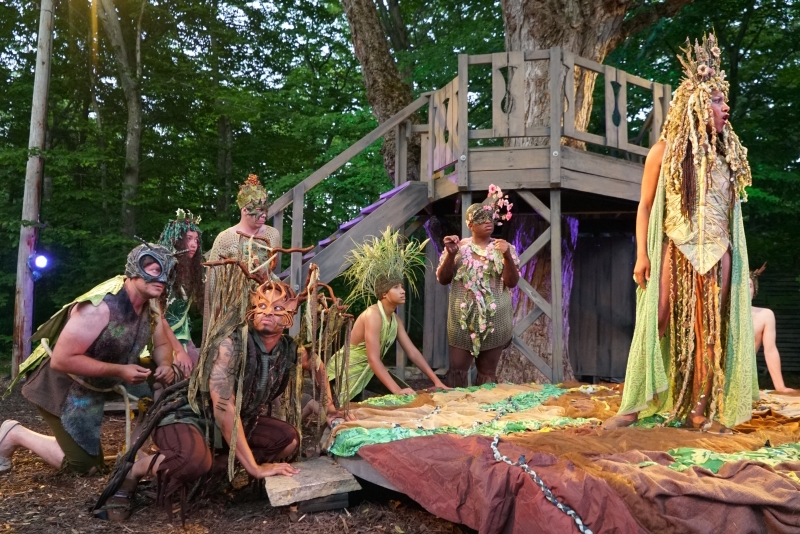 Marti Gobel and the Ensemble. A Midsummer Night's Dream. Directed by Joseph Hanreddy. Photo by Torey Byrne. Door Shakespeare.