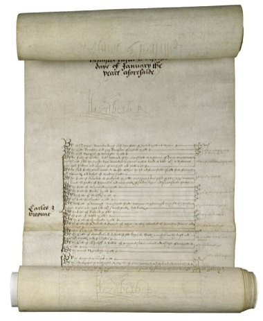 New Year's gift roll of Elizabeth I, Queen of England. January 1, 1585. Folger Shakespeare Library.