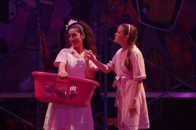 "Nanna and Juliet. Mehry Eslamina as Nanna and Susie Parr as Juliet in the Q Brothers' ""I Heart Juliet."" Illinois Shakespeare Festival. Photo by Pete Guither"