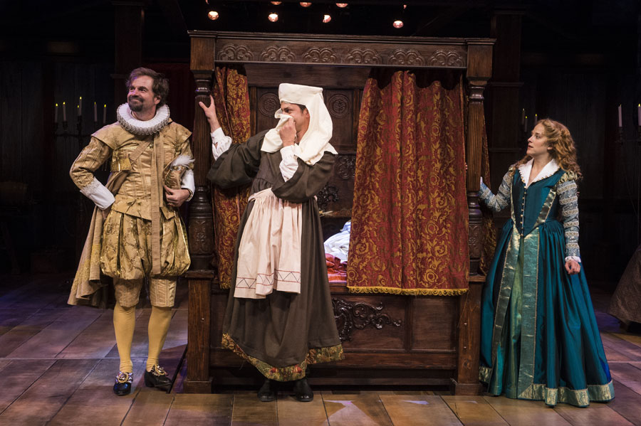 Geoffrey Kent (left) as Wessex, Quinn Mattfeld as Will Shakespeare, and Betsy Mugavero as Viola de Lesseps and in the Utah Shakespeare Festival's 2017 production of Shakespeare in Love. (Photo by Karl Hugh. Copyright Utah Shakespeare Festival 2017.)