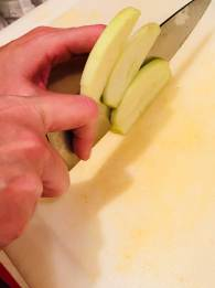 Slicing apples for the pumpkin pie
