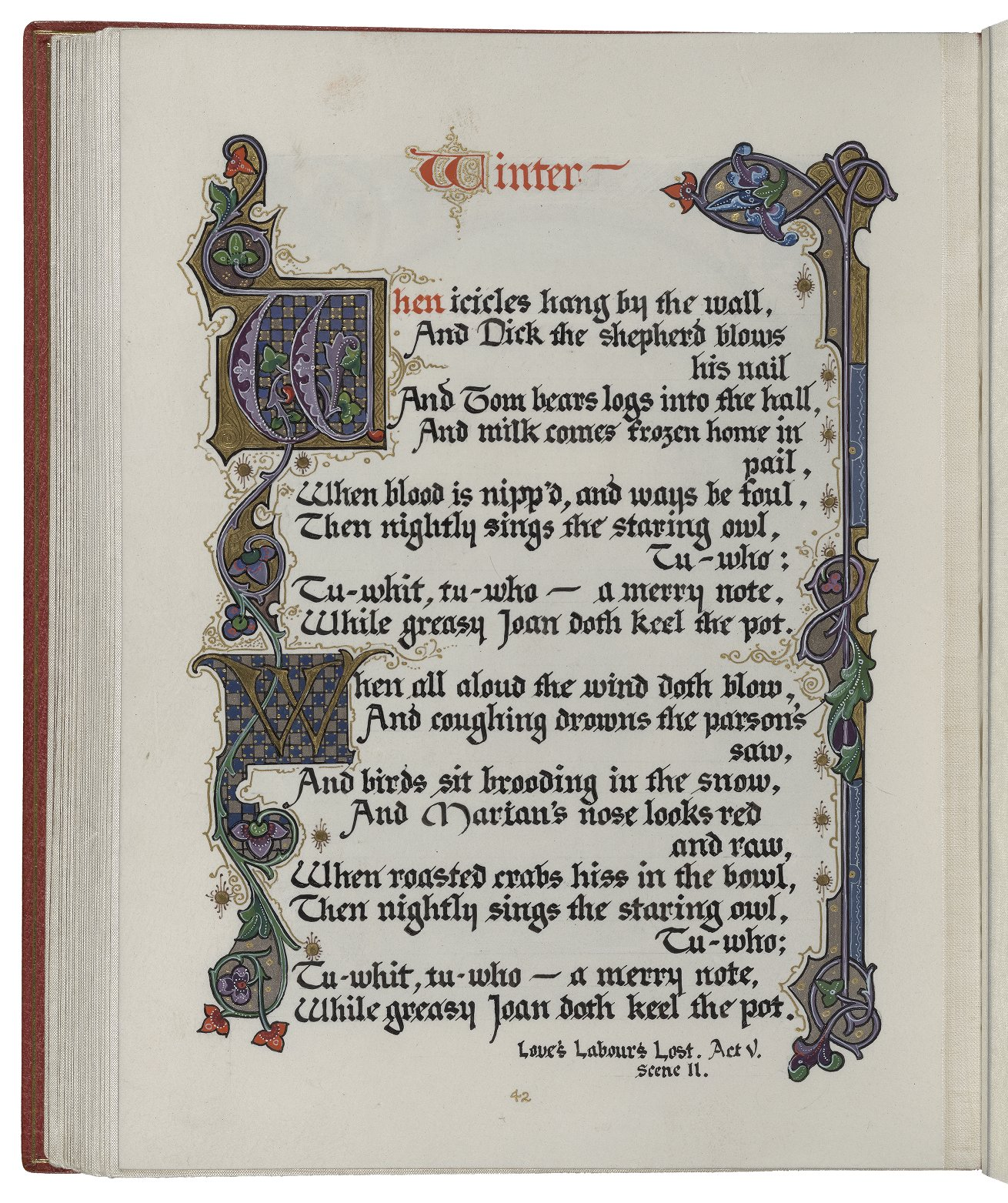 """An illluminated manuscript copy of the song """"Winter"""" from """"Love's Labor's Lost."""" From """"Songs and Sonnets,"""" W.b.260."""