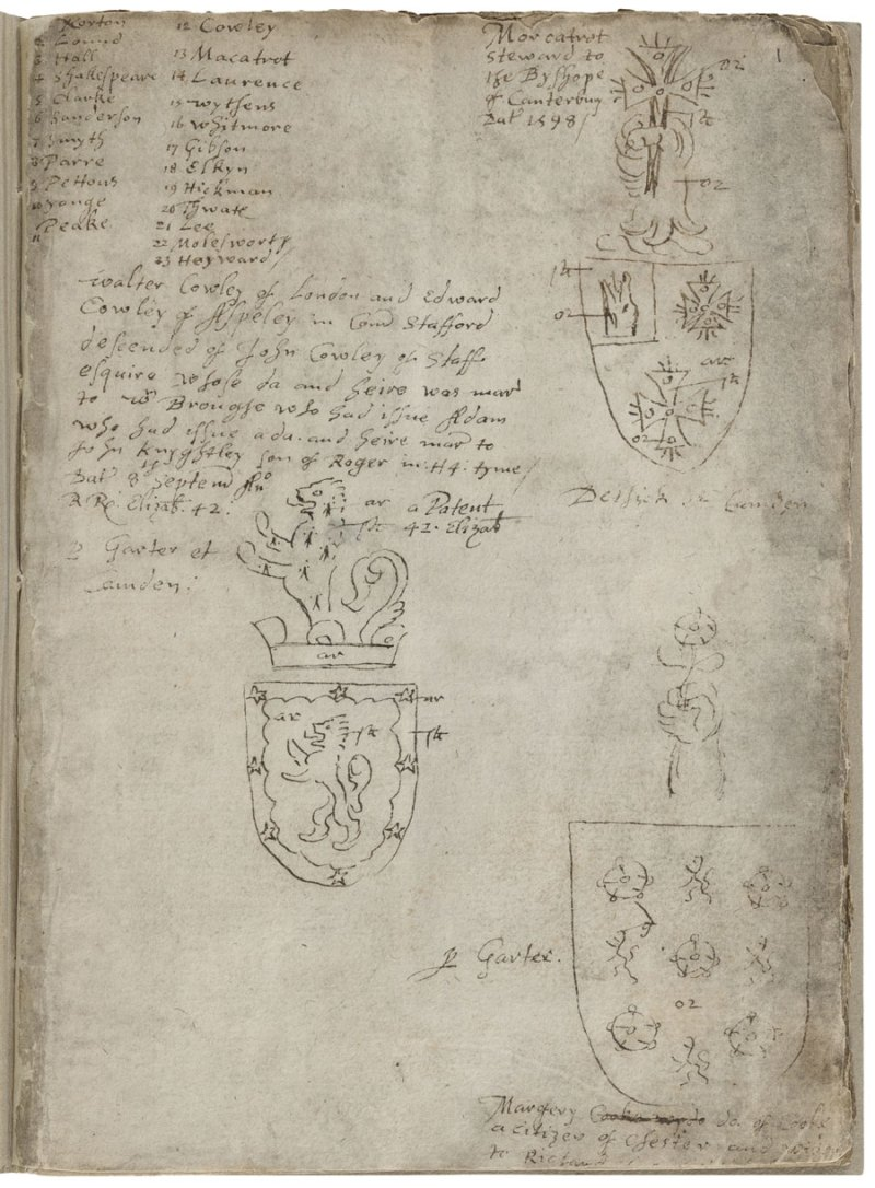 A 1602 compilation by Ralph Brooke, York Herald, of various coat of arms awarded by William Dethick; Shakespeare appears fourth in a list of twenty-three names challenged.