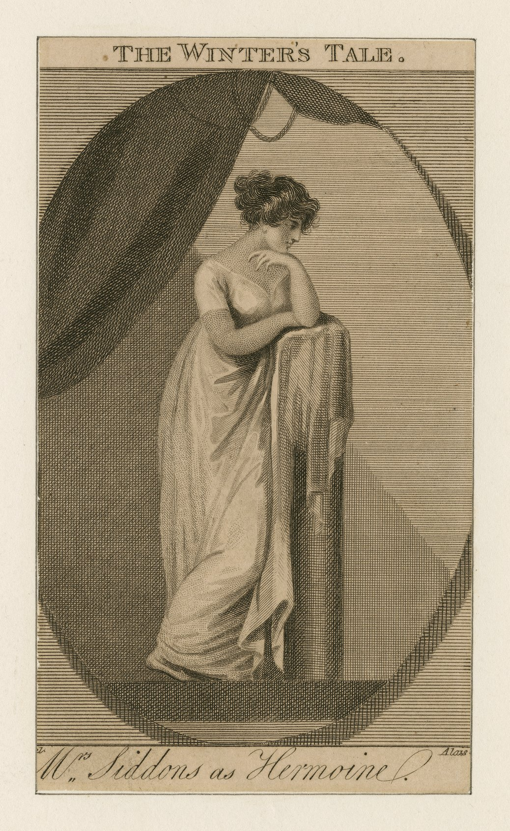"A engraving of Sarah Siddons as Hermione in ""The Winter's Tale."""