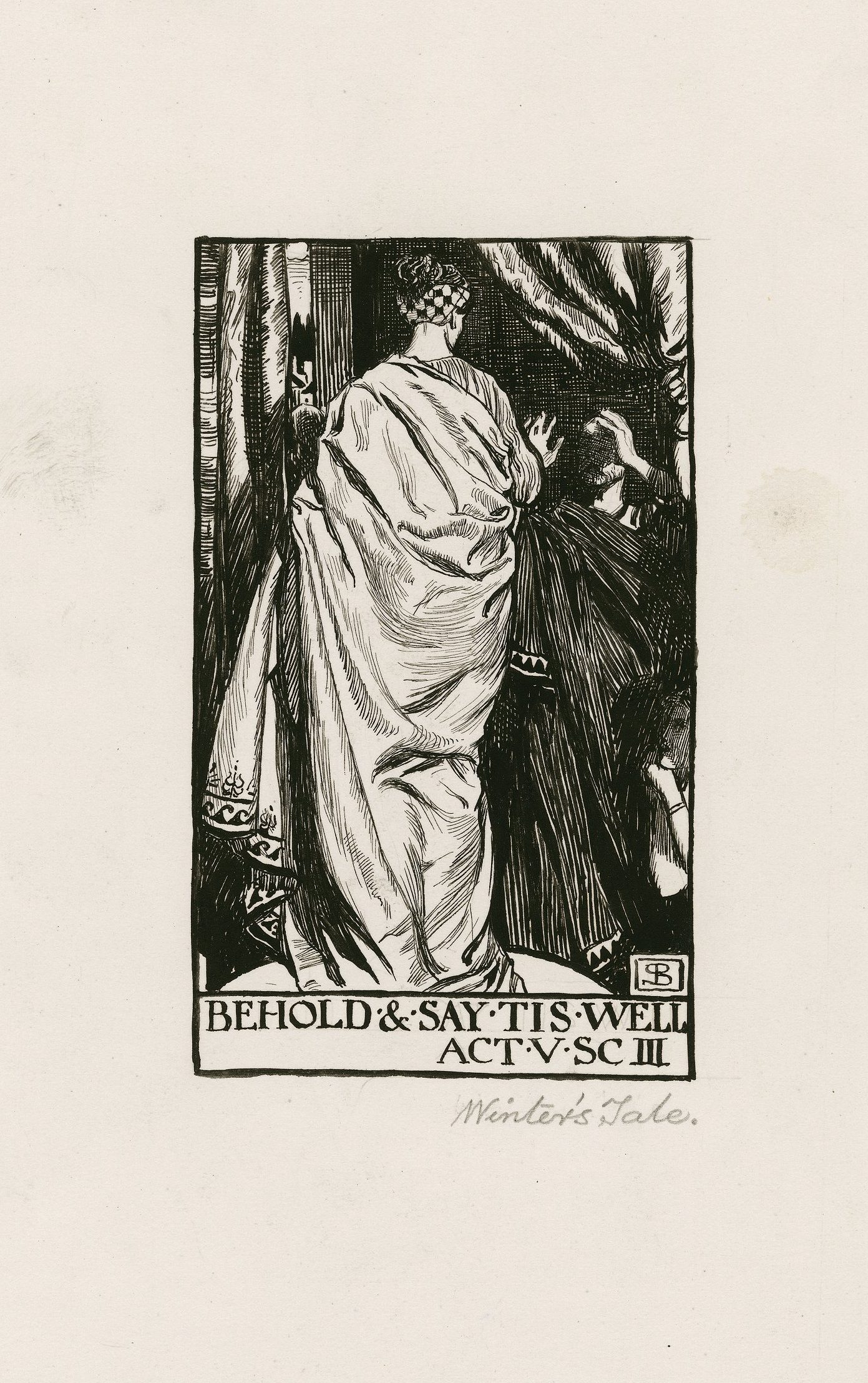 """A drawing of the statue scene in Shakespeare's """"The Winter's Tale"""" by Byam Shaw"""