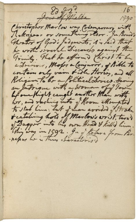 Robert Dodsley manuscript