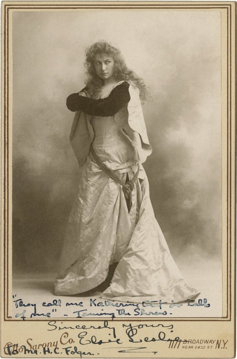 [Elsie Leslie in the role of Katherine]. 1903 (?). Photograph. Folger Shakespeare Library.