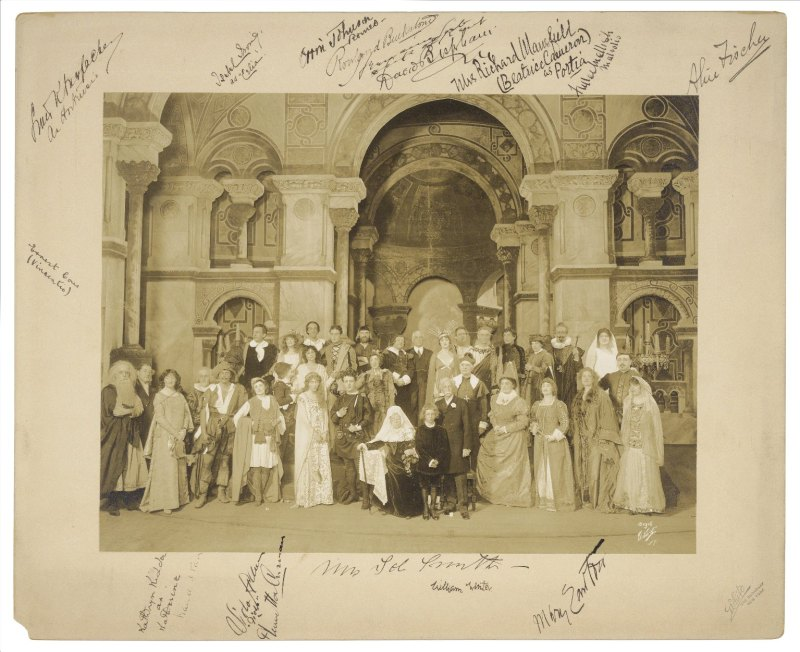 William Winter and actors at Shakespeare scenes performance, Century Theatre. March 14, 1916. White Studio. Folger Shakespeare Library.