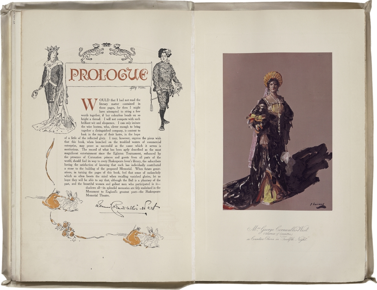 Shakespeare Memorial Souvenir of the Shakespeare Ball. Edited by Mrs. George Cornwallis-West. Prologue with colored photo of Mrs. Cornwallis-West as Countess Olivia. 1911?Folger Shakespeare Library.
